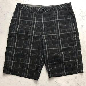 "O'Neill Black Grey Flat Front Shorts 10"" Inseam 32"